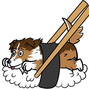Funny Shetland Sheepdog Japanese Sushi by ilovepaws