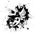 Shadowbolt skull wing splat (no text, black splats) by RiftwingDesigns