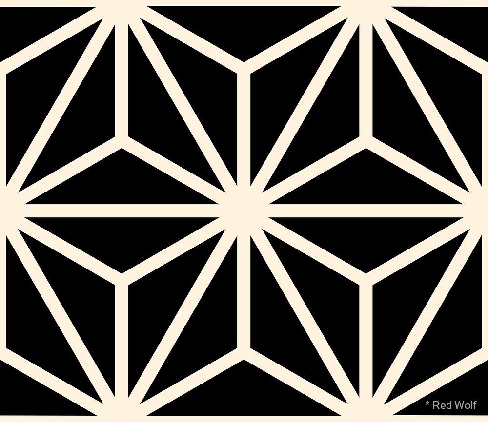 Geometric Pattern: Art Deco Star: Cream/Black by * Red Wolf