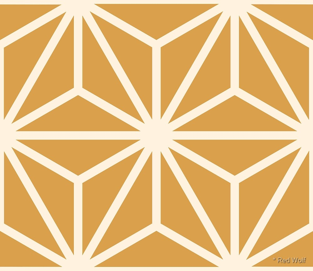 Geometric Pattern: Art Deco Star: Cream/Gold by * Red Wolf