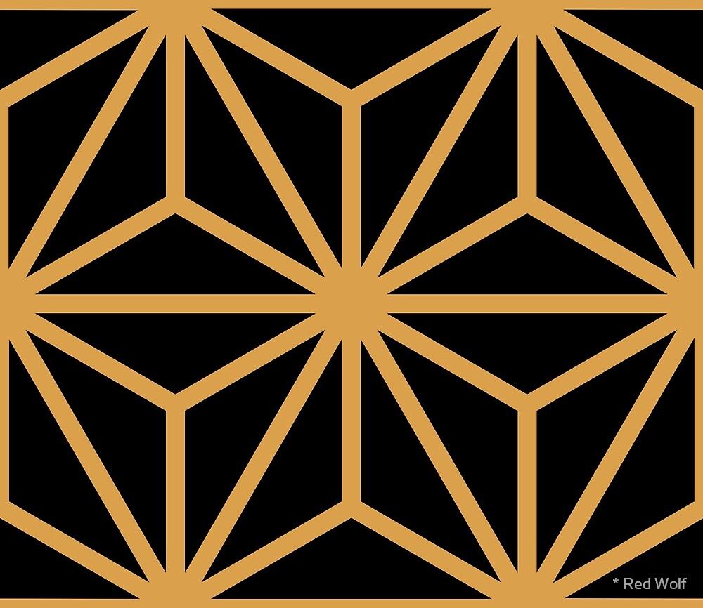 Geometric Pattern: Art Deco Star: Gold/Black by * Red Wolf
