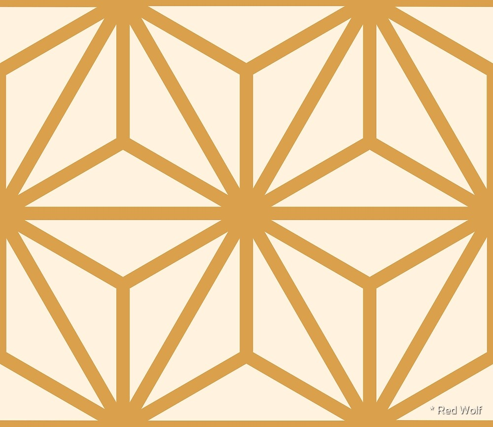 Geometric Pattern: Art Deco Star: Gold/Cream by * Red Wolf