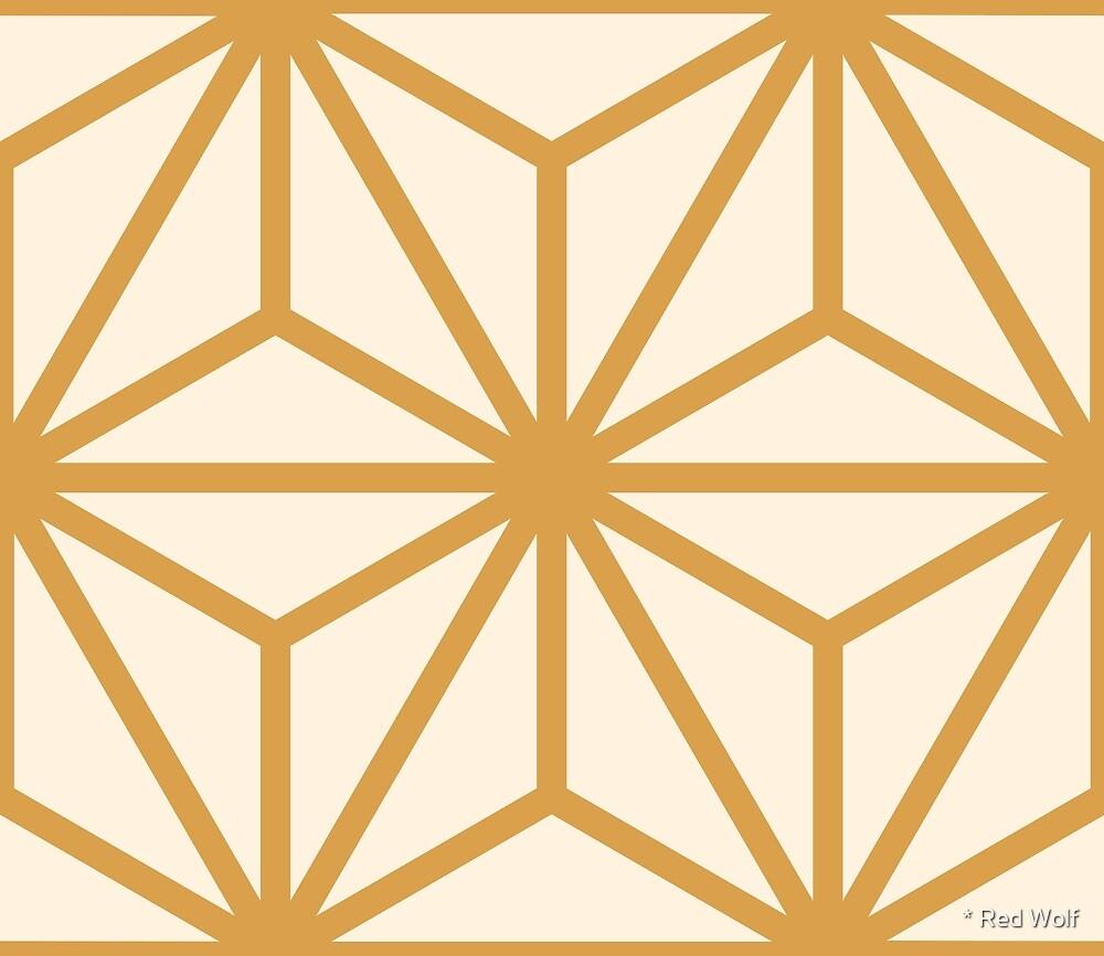 Geometric Pattern: Art Deco Star: Gold/Cream by * Red Wolf