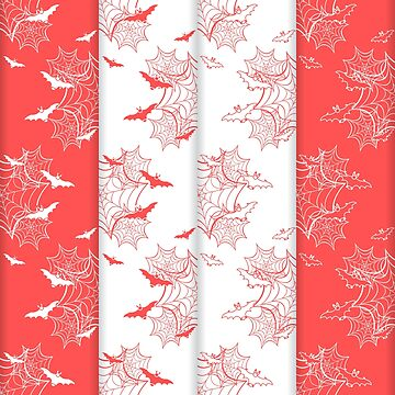 4 Halloween vector seamless pattern with web, bats by aquamarine-p