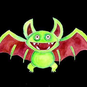 Watercolor Art | Whimsy Bat by coloringiship