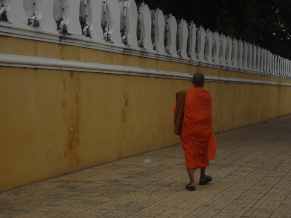 Walk of a Lone Monk - Royal Palace Phnom Penh by BRIGHTEY84