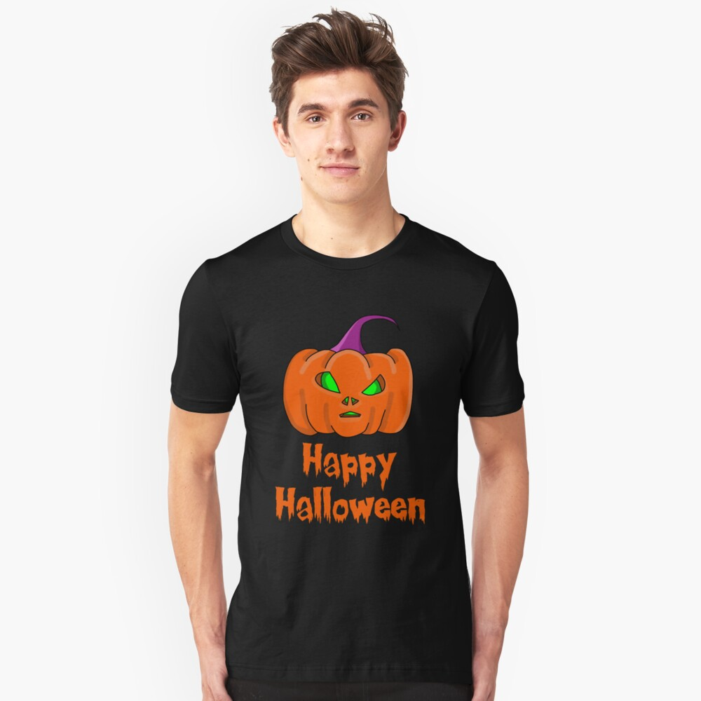 Happy Halloween Alien Pumpkin Unisex T-Shirt Front