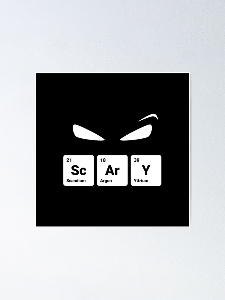 Alternate view of Scary! Halloween Eyes Periodic Table Elements Scandium Argon Yttrium Poster