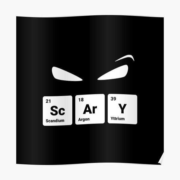 Scary! Halloween Eyes Periodic Table Elements Scandium Argon Yttrium Poster