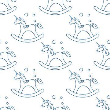 Pattern with rocking magic unicorn and bubbles. by aquamarine-p