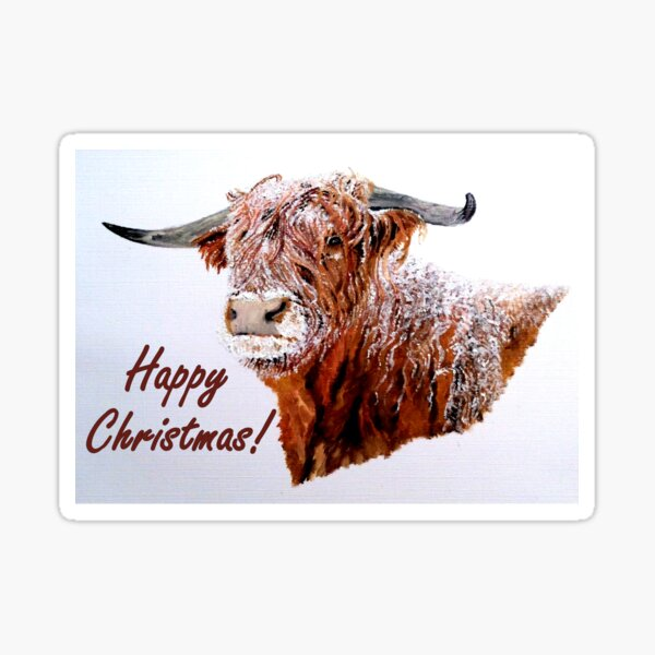 Snowy Highland Cow Christmas Card Sticker