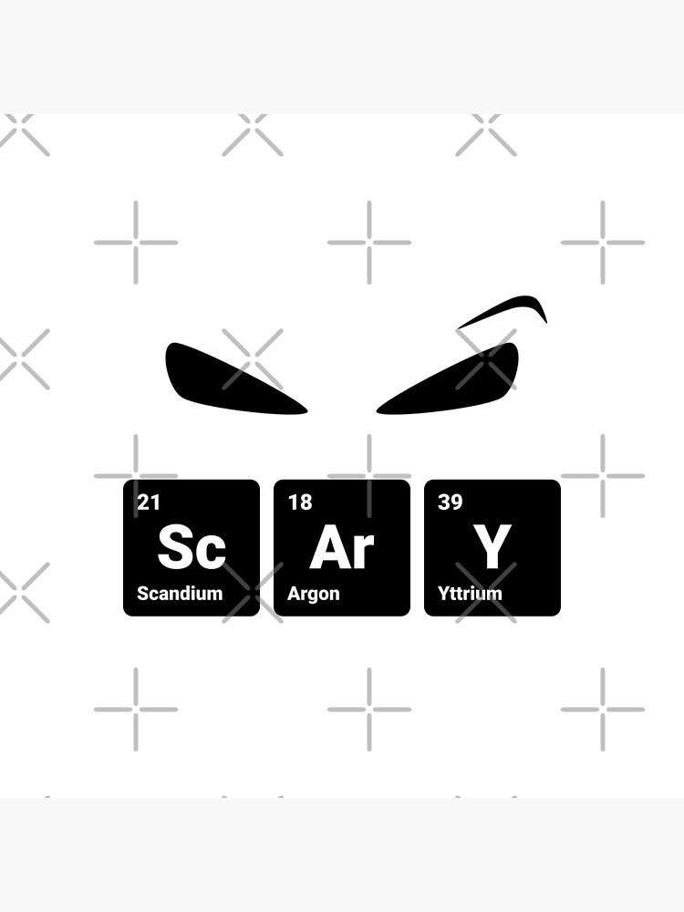 Scary! Halloween Eyes Periodic Table Elements Scandium Argon Yttrium (Inverted) by science-gifts