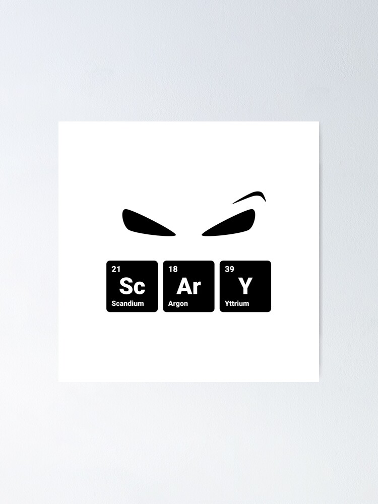 Alternate view of Scary! Halloween Eyes Periodic Table Elements Scandium Argon Yttrium (Inverted) Poster