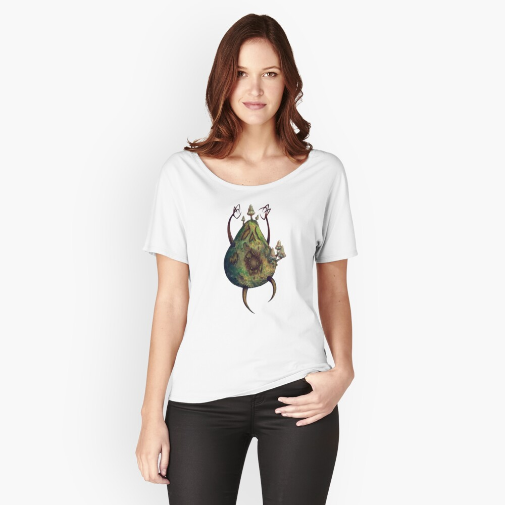 Avocadavero - Alphabet of Haunted Food _Undead Avocado Women's Relaxed Fit T-Shirt Front
