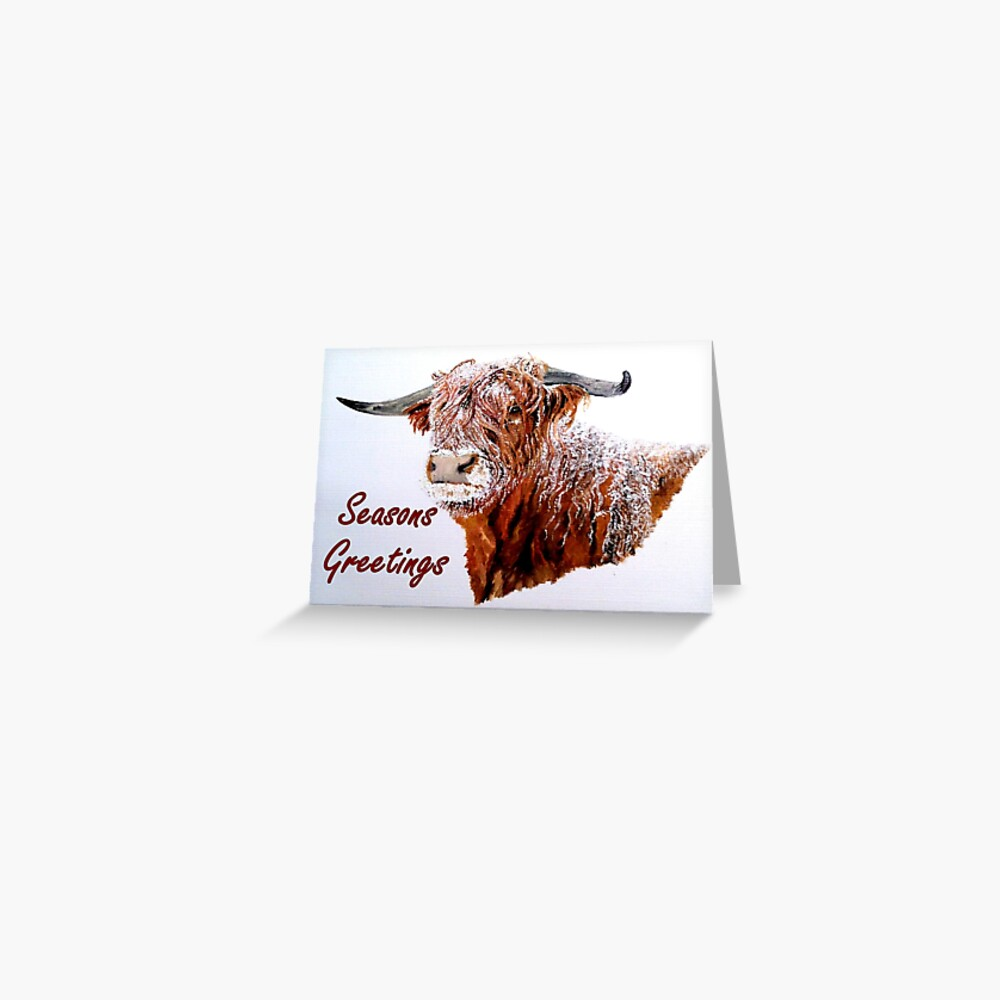 Snowy Highland Cow with 'Seasons Greetings' Greeting Card