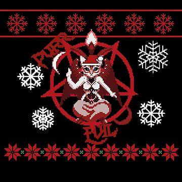 Purr evil satanic cat christmas pixel art by handcraftline
