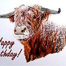 Snowy Highland Cow Birthday Card by EuniceWilkie