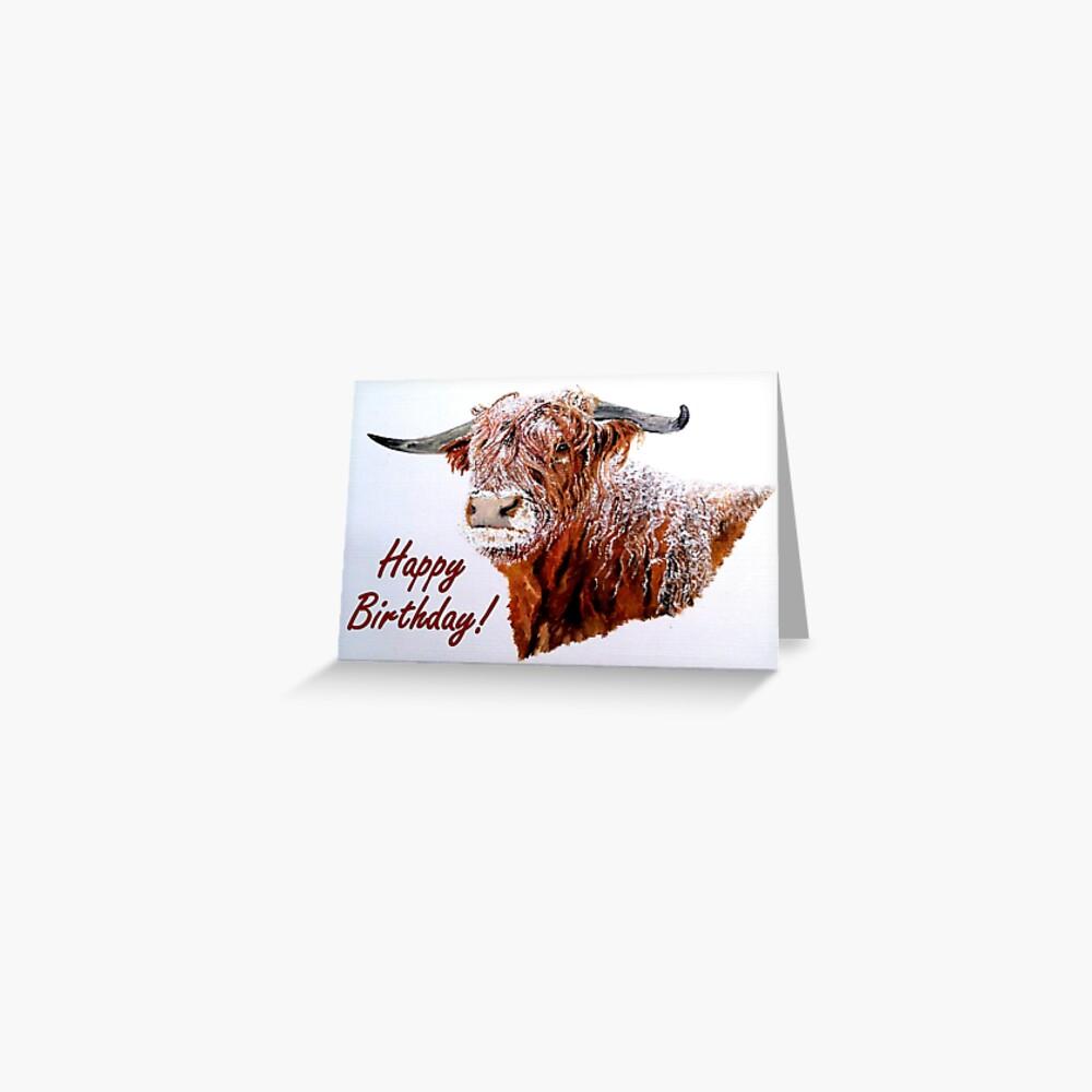 Snowy Highland Cow Birthday Card Greeting Card