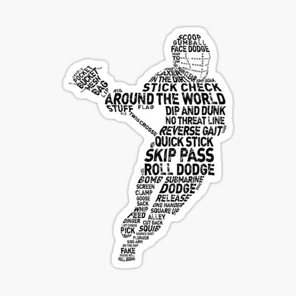 Lacrosse Player Terminology Word Art Sticker