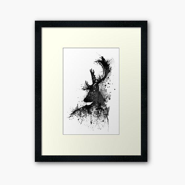 Black and White Deer Head Watercolor Silhouette Framed Art Print