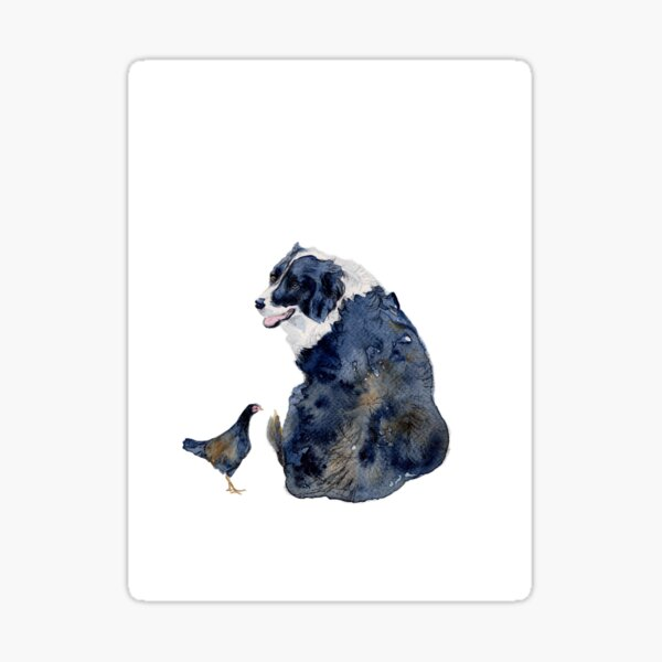 A dog and his chicken Sticker
