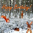 Woodland Creatures and Falling Snow Birthday Card by EuniceWilkie