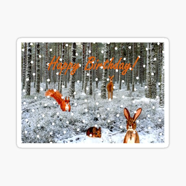 Woodland Creatures and Falling Snow Birthday Card Sticker