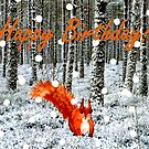 Squirrel in Snow Birthday Card by EuniceWilkie