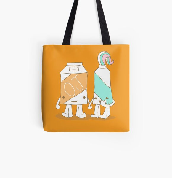 The Cutest Couple: Orange Juice & Toothpaste All Over Print Tote Bag