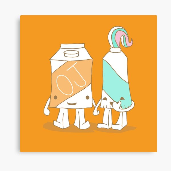 The Cutest Couple: Orange Juice & Toothpaste Canvas Print