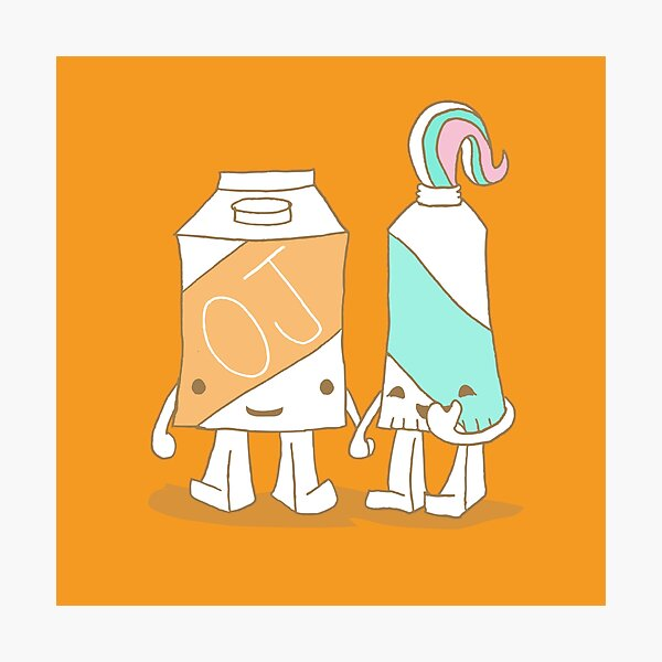 The Cutest Couple: Orange Juice & Toothpaste Photographic Print