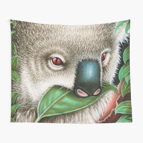 Cute Koala Munching a Leaf Tapestry