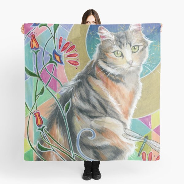 Calico Cat and Dragonflies Scarf