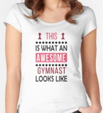 Gymnast Awesome Looks Birthday Gymnastics Christmas Funny  Women's Fitted Scoop T-Shirt