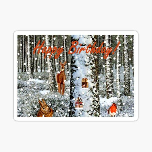 Tree Trunk Home Birthday Card  Sticker