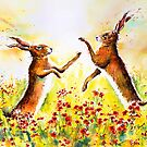 PLAYING IN THE POPPIES - BOXING HARES by Carrie McKenzie