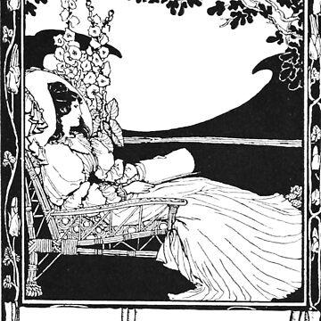 Vintage Art Nouveau Romantic Bookplate Ex Libris by LarkDesigns