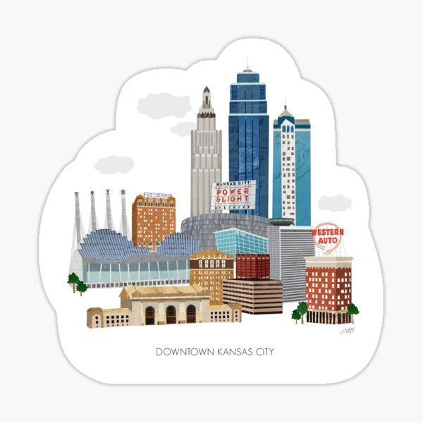Downtown Kansas City Illustration Sticker