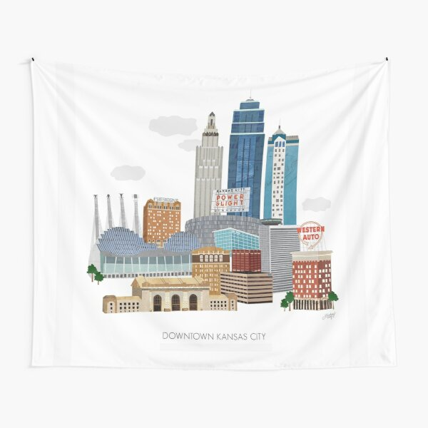 Downtown Kansas City Illustration Tapestry