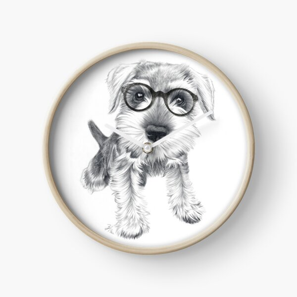 Nerdy Schnozz the Schnauzer Clock
