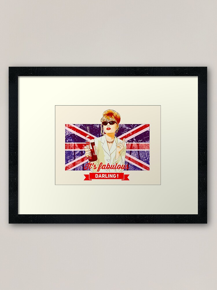 Alternate view of Patsy Stone with the English flag  Union Jack in Absolutely Fabulous  Framed Art Print