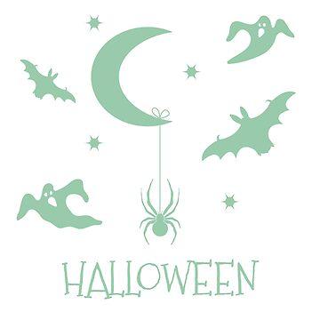 Halloween 2019. Month, stars, spider, bats, ghosts by aquamarine-p