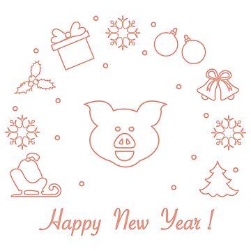 Happy New Year 2019 card. Vector illustration. by aquamarine-p