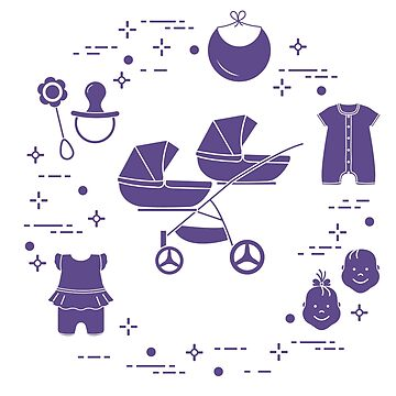 Stroller, twins, rattle, pacifier, bib, overalls. by aquamarine-p