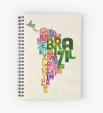 Typography Map of Central and South America Spiral Notebook