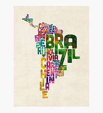 Typography Map of Central and South America Photographic Print