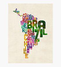 Typografie Karte von Mittel- und Südamerika Fotodruck