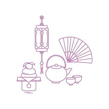 Chinese lantern, kettle, cups, fan, kagami mochi. by aquamarine-p