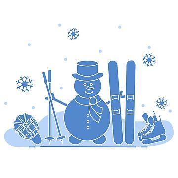 Snowman with ski and hockey equipment. by aquamarine-p