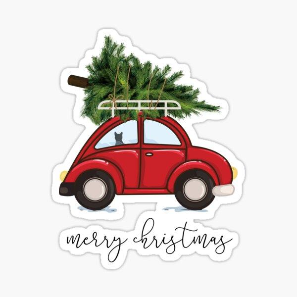 Weihnachtsbaum auf rotem Auto mit Katze Sticker
